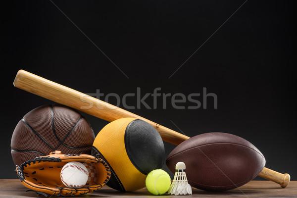 Sportgeräte erschossen unterschiedlich Kugeln Baseballschläger Stock foto © LightFieldStudios