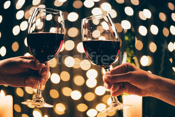 women clinking glasses with wine Stock photo © LightFieldStudios