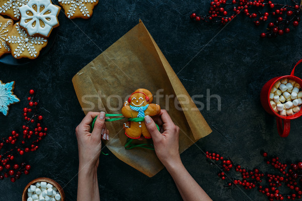 festive gingerbread cookie Stock photo © LightFieldStudios