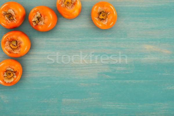 Top мнение бирюзовый деревянный стол текстуры таблице Сток-фото © LightFieldStudios