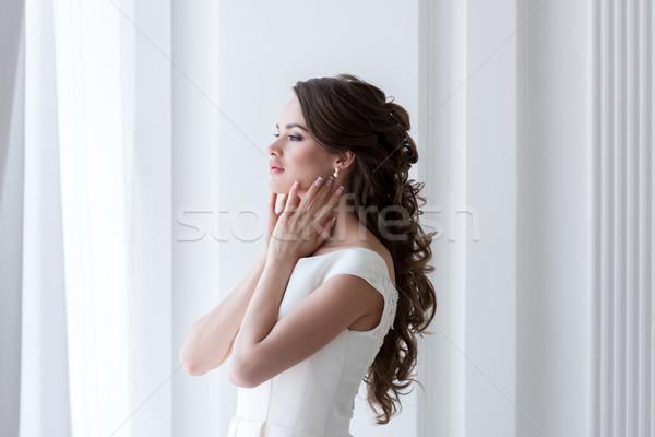 Eleganten Braut schönen Hochzeitskleid Hochzeit weiblichen Stock foto © LightFieldStudios