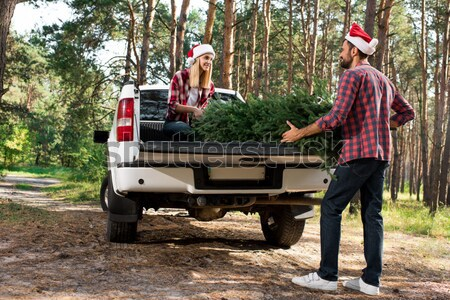 travelers near minivan in forest Stock photo © LightFieldStudios
