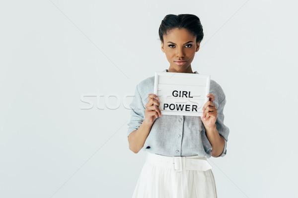 Afro-amerikaanse vrouw meisje macht boord portret Stockfoto © LightFieldStudios