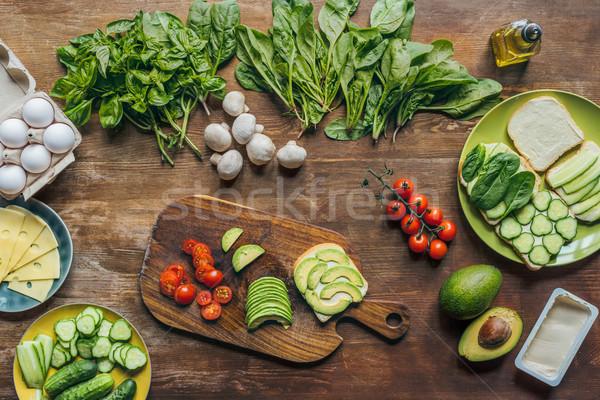 Sağlıklı kahvaltı malzemeler sebze mantar Stok fotoğraf © LightFieldStudios