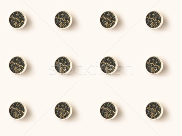 Száraz gyógynövények tea tálak felső kilátás Stock fotó © LightFieldStudios