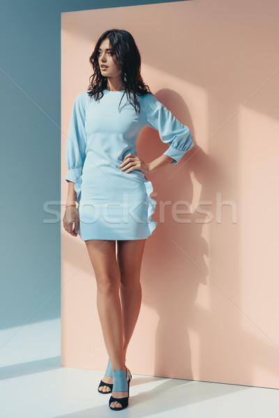 Mulher elegante turquesa vestir mulher atraente em pé Foto stock © LightFieldStudios