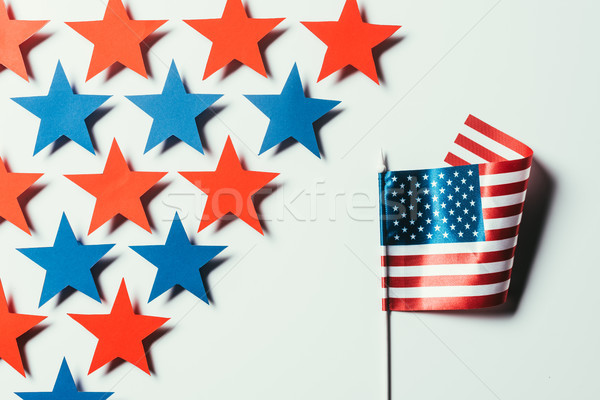 top view of stars and american flag isolated on white, presidents day concept Stock photo © LightFieldStudios