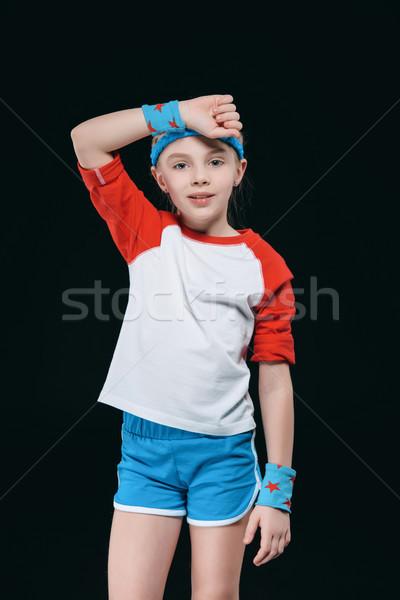 Fatigué petite fille sueur front activités Photo stock © LightFieldStudios