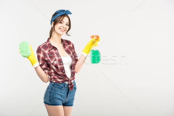 Donna spugna spray bottiglia bella Foto d'archivio © LightFieldStudios