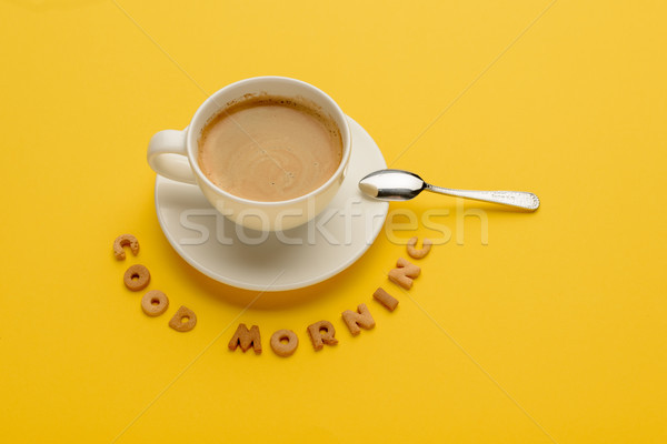 Close-up view of cup of fresh hot coffee and good morning inscription Stock photo © LightFieldStudios
