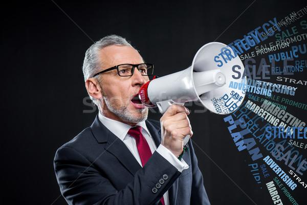 Idős üzletember hangfal üzlet kommunikáció technológia Stock fotó © LightFieldStudios