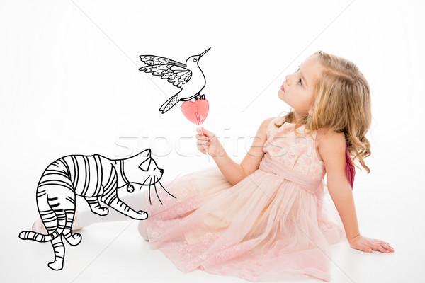 Stockfoto: Cute · meisje · lolly · vergadering · kat