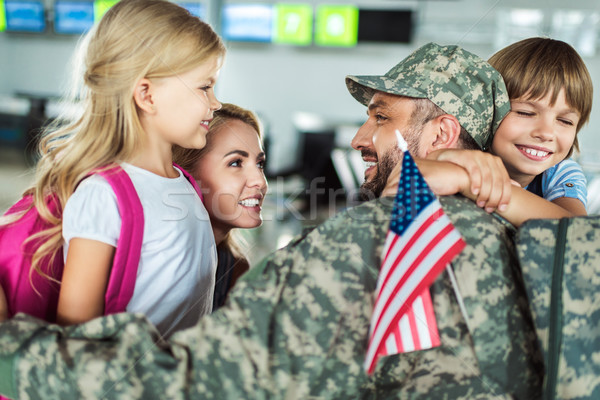 Stock photo: family and man in military uniform