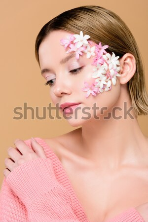 woman with fresh skin posing with cloves Stock photo © LightFieldStudios