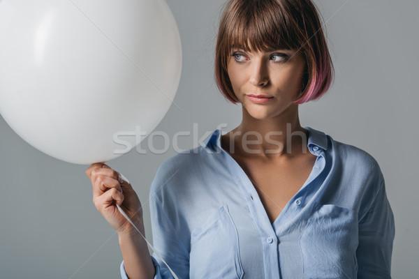 ストックフォト: 少女 · 白 · バルーン · 美しい · エレガントな · 孤立した