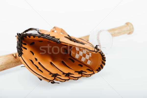 Baseball primo piano shot bat palla Foto d'archivio © LightFieldStudios