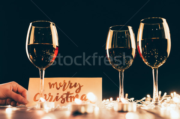 Wineglasses and christmas decorations Stock photo © LightFieldStudios