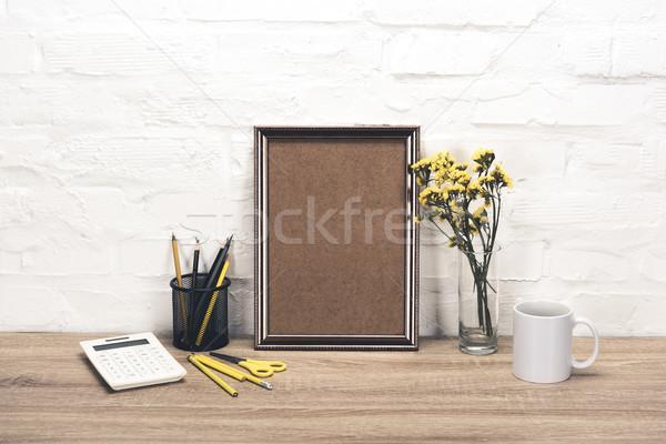 üres fényképkeret asztal közelkép kilátás irodaszerek Stock fotó © LightFieldStudios