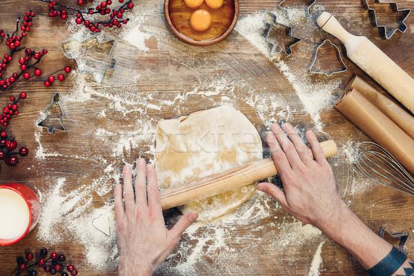 Peperkoek christmas cookies shot persoon deegrol Stockfoto © LightFieldStudios
