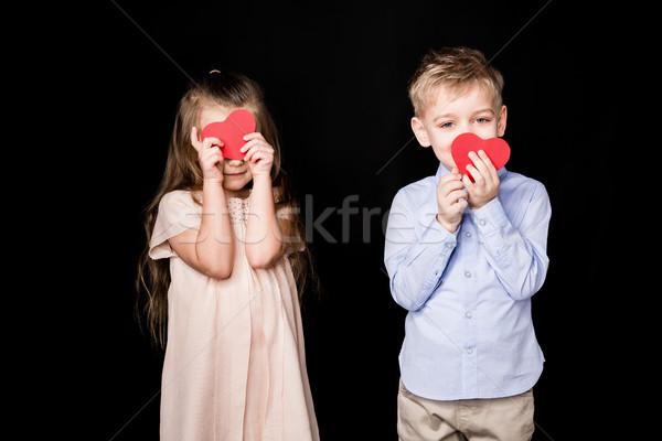 Kids with paper hearts Stock photo © LightFieldStudios