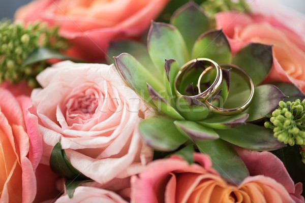 Deux or alliances bouquet roses succulent Photo stock © LightFieldStudios