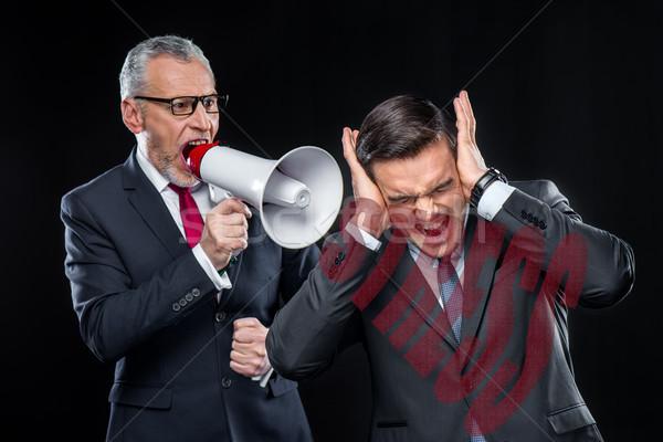 Főnök hangfal kiabál alkalmazott idős üzletemberek Stock fotó © LightFieldStudios