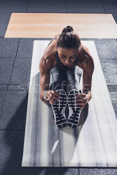 Stockfoto: Vrouw · jonge · atletisch · opleiding · gymnasium