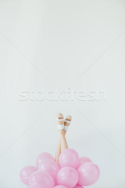 Foto stock: Femenino · piernas · globos · vista · aislado