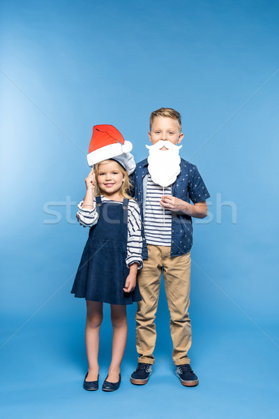 Enfants chapeau faux barbe adorable Photo stock © LightFieldStudios