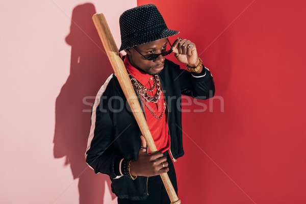 african american man with bat Stock photo © LightFieldStudios