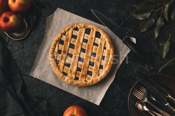 Házi készítésű almás pite felső kilátás friss almák Stock fotó © LightFieldStudios