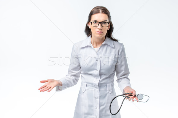 Stock photo: Female doctor with stethoscope
