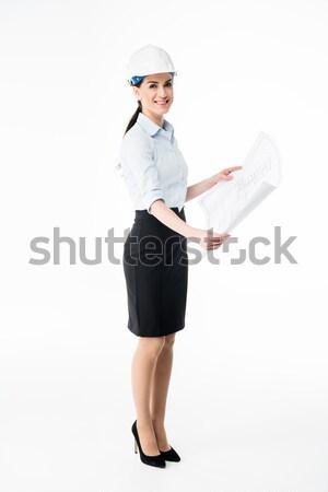 女性 建築 ヘルメット 悲鳴 白 女性 ストックフォト © LightFieldStudios