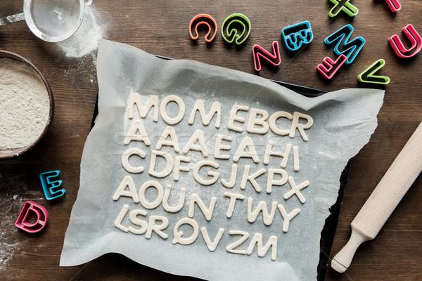 Top view cookies lettere mattarello cottura Foto d'archivio © LightFieldStudios