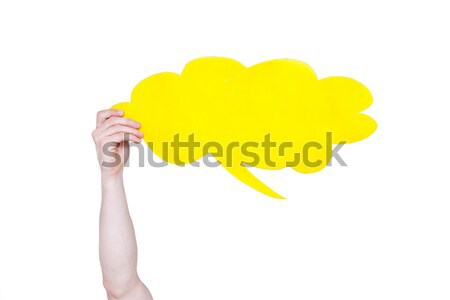 person holding yellow empty speech bubble with copy space isolated on white Stock photo © LightFieldStudios