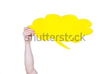 Persoon Geel lege tekstballon exemplaar ruimte Stockfoto © LightFieldStudios