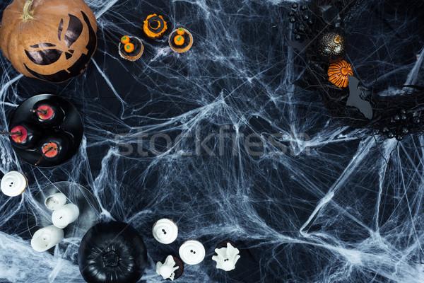 Halloween decoraties spinneweb top heerlijk Stockfoto © LightFieldStudios