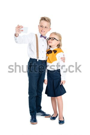Stock photo: kids taking selfie with smartphone