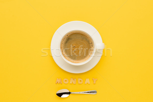 top view of cup of espresso coffee, spoon and monday lettering  Stock photo © LightFieldStudios