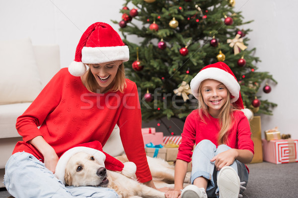mother, daughter and dog at christmastime Stock photo © LightFieldStudios