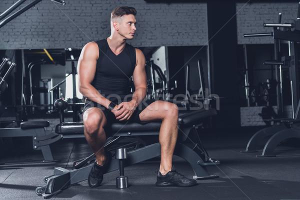 спортивный человека спортзал сидят Сток-фото © LightFieldStudios