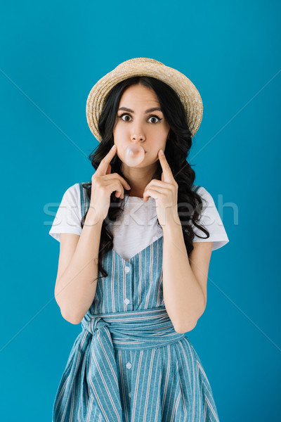 woman blowing bubble gum Stock photo © LightFieldStudios