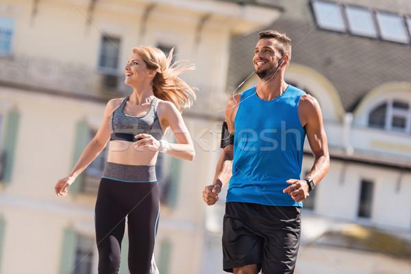ジョギング アスレチック スポーツウーマン スポーツマン ジョギング 市 ストックフォト © LightFieldStudios