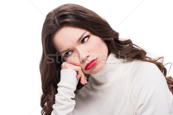 üzgün kadın kırmızı ruj genç Stok fotoğraf © LightFieldStudios