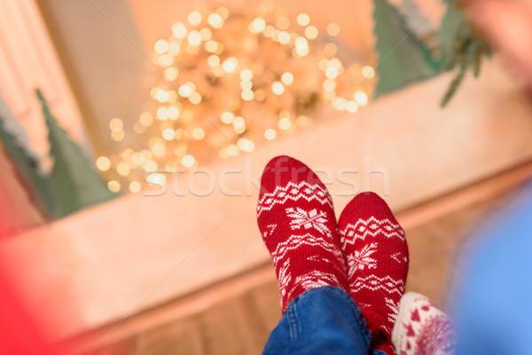 Pár kötött zokni lövés láb boldog Stock fotó © LightFieldStudios