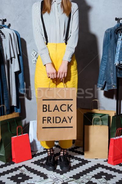 Kız alışveriş çantası black friday düşük bölüm Stok fotoğraf © LightFieldStudios
