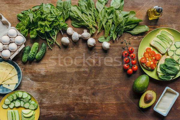 Stok fotoğraf: Sağlıklı · kahvaltı · malzemeler · ahşap · gıda · yeme