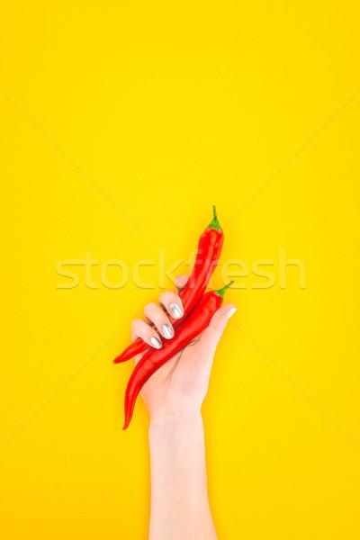 выстрел человек сырой красный чили Сток-фото © LightFieldStudios