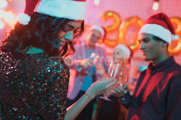 multiethnic friends at new year party Stock photo © LightFieldStudios