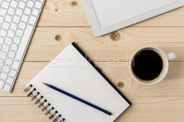 üst görmek defter fincan kahve dijital Stok fotoğraf © LightFieldStudios